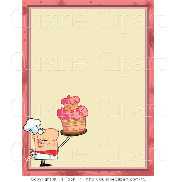 Cuisine Vector Clipart of a Menu Border with a Chef Holding a Cake