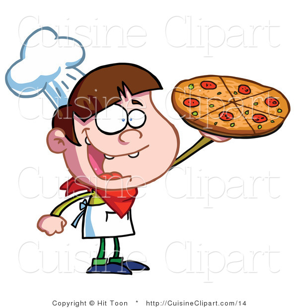 Cuisine Vector Clipart of a Pizza Boy Holding up a Pie