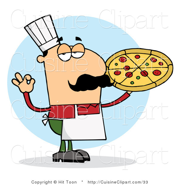 Cuisine Vector Clipart of a Pleased Italian Pizza Chef Man with His Perfect Pie