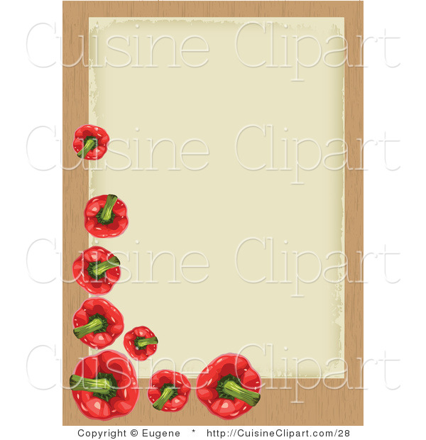 Cuisine Vector Clipart of a Red Bell Pepper Border