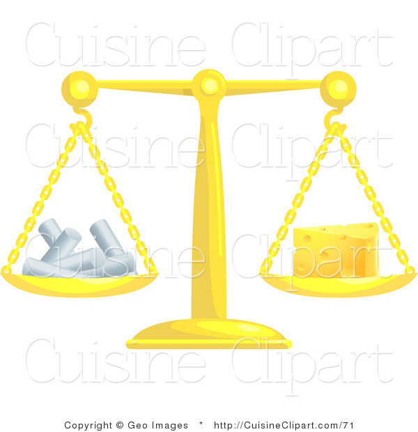 Cuisine Vector Clipart of a Scale Weighing Cheese and Chalk