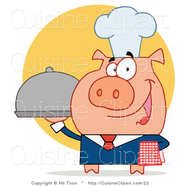 Cuisine Vector Clipart of a Serving Pig