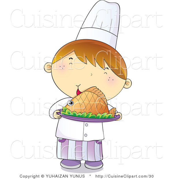Cuisine Vector Clipart of a Young Male Chef Boy Smiling and Holding a Plate of Hot Seafood