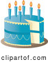 Cuisine Clipart of a Blue Birthday Cake with Candles and a Missing Slice by Pams Clipart