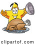 Cuisine Clipart of a Bright Star Mascot Cartoon Character Serving a Thanksgiving Turkey on a Platter by Toons4Biz