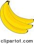 Cuisine Clipart of a Bunch of Fresh Yellow Bananas by Maria Bell