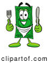 Cuisine Clipart of a Cash Dollar Bill Mascot Cartoon Character Holding a Knife and Fork by Toons4Biz
