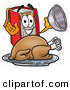 Cuisine Clipart of a Cheerful and Hungry Red Book Mascot Cartoon Character Serving a Thanksgiving Turkey on a Platter by Toons4Biz
