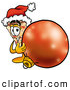 Cuisine Clipart of a Cheerful Slice of Pizza Mascot Cartoon Character Wearing a Santa Hat, Standing with a Christmas Bauble by Toons4Biz