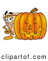 Cuisine Clipart of a Cheerful Slice of Pizza Mascot Cartoon Character with a Carved Halloween Pumpkin by Toons4Biz