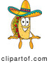 Cuisine Clipart of a Cheerful Taco Mascot Cartoon Character Sitting by Toons4Biz