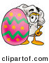 Cuisine Clipart of a Cheerful White Chefs Hat Mascot Cartoon Character Standing Beside an Easter Egg by Toons4Biz