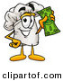 Cuisine Clipart of a Chefs Hat Mascot Cartoon Character Holding Money and Smiling by Toons4Biz