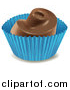 Cuisine Clipart of a Chocolate Dessert Candy in a Blue Wrapper by Graphics RF