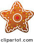 Cuisine Clipart of a Christmas Gingerbread Star Cookie by Vector Tradition SM
