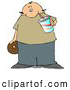 Cuisine Clipart of a Chubby Bald Man Drinking Soda and Eating a Chocolate Donut by Djart