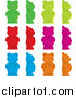 Cuisine Clipart of a Colorful Gummy Bears from Front and in Profile by Randomway