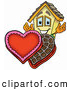 Cuisine Clipart of a Cute House Mascot Cartoon Character with an Open Box of Valentines Day Chocolate Candies by Toons4Biz