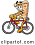 Cuisine Clipart of a Cute Slice of Pizza Mascot Cartoon Character Riding a Bicycle by Toons4Biz