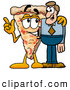 Cuisine Clipart of a Cute Slice of Pizza Mascot Cartoon Character Talking to a Business Man by Toons4Biz