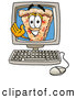 Cuisine Clipart of a Cute Slice of Pizza Mascot Cartoon Character Waving from Inside a Computer Screen by Toons4Biz