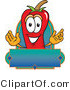 Cuisine Clipart of a Cute Smiling Red Chili Pepper Mascot Cartoon Character with a Blank Label by Toons4Biz