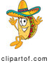 Cuisine Clipart of a Cute Taco Mascot Cartoon Character Jumping by Toons4Biz