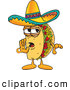 Cuisine Clipart of a Cute Taco Mascot Cartoon Character Whispering and Gossiping by Toons4Biz