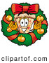Cuisine Clipart of a Delicious Piece of Cheese Pizza Inside a Christmas Wreath by Toons4Biz