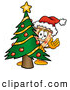 Cuisine Clipart of a Delicious Slice of Pizza Mascot Cartoon Character Waving and Standing by a Decorated Christmas Tree by Toons4Biz