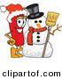Cuisine Clipart of a Festive Red Chili Pepper Mascot Cartoon Character with a Snowman on Christmas by Toons4Biz