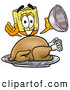 Cuisine Clipart of a Friendly Broom Mascot Cartoon Character Serving a Thanksgiving Turkey on a Platter by Toons4Biz