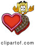 Cuisine Clipart of a Friendly Broom Mascot Cartoon Character with an Open Box of Valentines Day Chocolate Candies by Toons4Biz