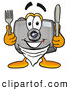 Cuisine Clipart of a Friendly Camera Mascot Cartoon Character Holding a Knife and Fork by Toons4Biz