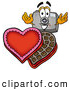 Cuisine Clipart of a Friendly Camera Mascot Cartoon Character with an Open Box of Valentines Day Chocolate Candies by Toons4Biz