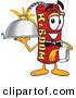 Cuisine Clipart of a Friendly Dynamite Mascot Cartoon Character Holding a Serving Platter by Toons4Biz