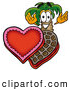 Cuisine Clipart of a Friendly Palm Tree Mascot Cartoon Character with an Open Box of Valentines Day Chocolate Candies by Toons4Biz