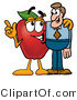 Cuisine Clipart of a Friendly Red Apple Character Mascot Talking Nutrition with a Business Man by Toons4Biz