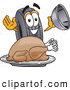 Cuisine Clipart of a Friendly Rubber Tire Mascot Cartoon Character Serving a Thanksgiving Turkey on a Platter by Toons4Biz