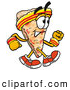 Cuisine Clipart of a Friendly Slice of Pizza Mascot Cartoon Character Speed Walking or Jogging by Toons4Biz