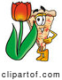 Cuisine Clipart of a Friendly Slice of Pizza Mascot Cartoon Character with a Red Tulip Flower in the Spring by Toons4Biz