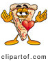 Cuisine Clipart of a Friendly Slice of Pizza Mascot Cartoon Character with His Heart Beating out of His Chest by Toons4Biz