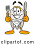 Cuisine Clipart of a Friendly Tooth Mascot Cartoon Character Holding a Knife and Fork by Toons4Biz