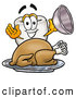 Cuisine Clipart of a Friendly Tooth Mascot Cartoon Character Serving a Thanksgiving Turkey on a Platter by Toons4Biz