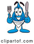 Cuisine Clipart of a Friendly Water Drop Mascot Cartoon Character Holding a Knife and Fork by Toons4Biz