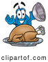 Cuisine Clipart of a Friendly Water Drop Mascot Cartoon Character Serving a Thanksgiving Turkey on a Platter by Toons4Biz