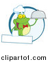 Cuisine Clipart of a Frog Chef Waiter Logo with Copyspace by Hit Toon