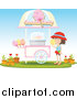 Cuisine Clipart of a Girl at a Cotton Candy Kiosk by Graphics RF