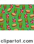 Cuisine Clipart of a Green Background with Burgers, Fries and Soda by Prawny