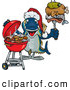 Cuisine Clipart of a Grilling Christmas Tuna Fish by Dennis Holmes Designs